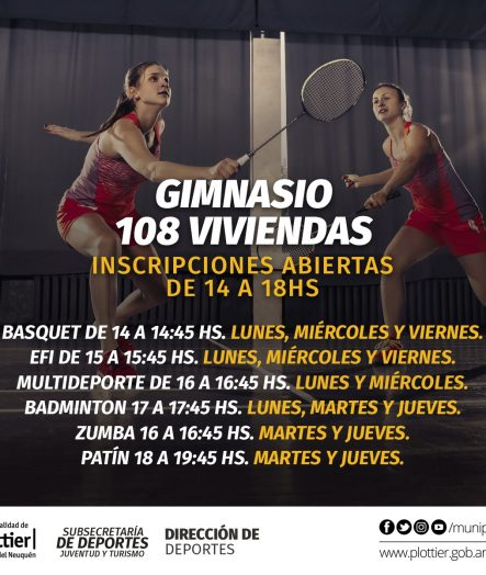 INSCRIPCIONES ACTIVIDADES EN GIMNASIO Bº 108 VIVIENDAS