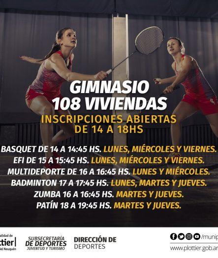 INSCRIPCIONES ACTIVIDADES EN GIMNASIO DEL Bº 108 VIVIENDAS